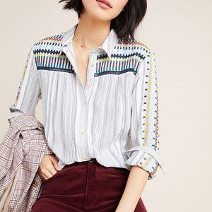 Anthropologie Pilcro Striped Embroidered Top Blue